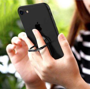 bagovale bague anneau support allongé noir pour telephone tenue dans les mains 360 degres phonebague specialiste