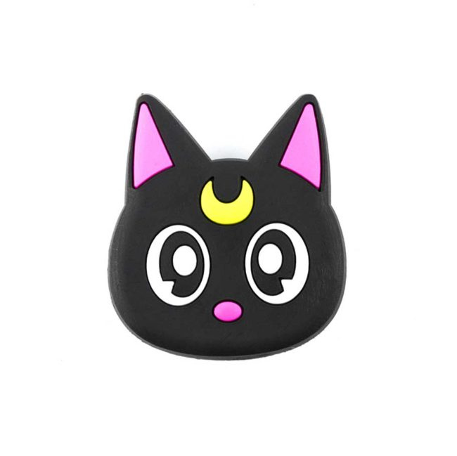 chacha chatlune airbag chat noir lune jaune bague support anneau pour telephone phonebague specialiste