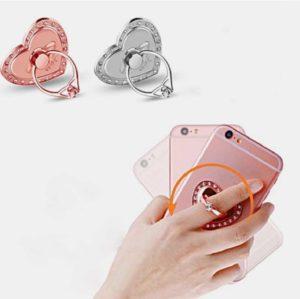 iloveu bague anneau support coeur solitaire 360 degres phonebague specialiste
